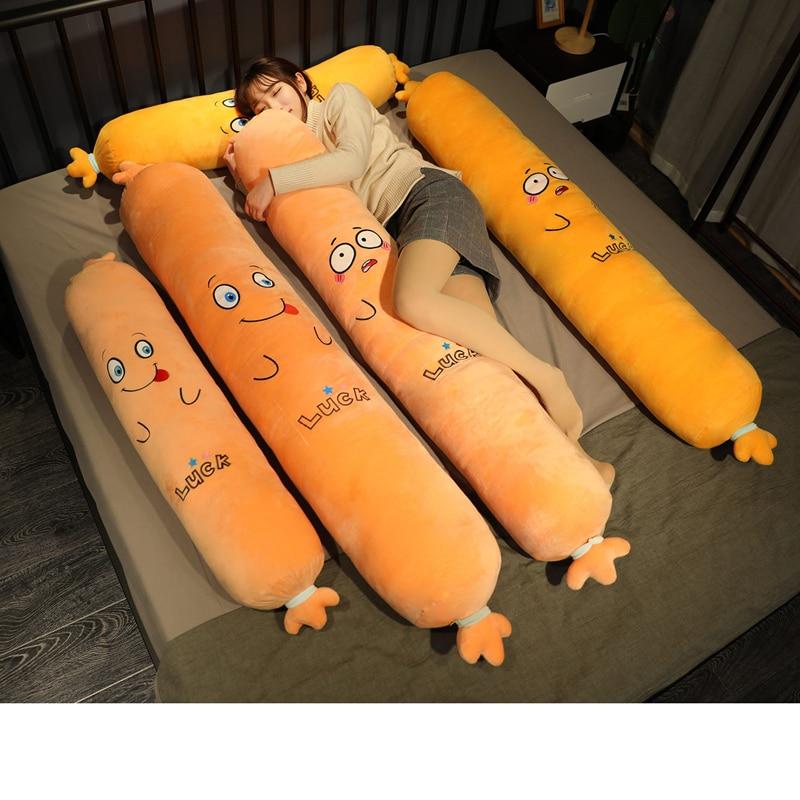 60/120/160cm Kawaii Lifelike Sausage Plush Toys Stuffed Long Sleeping Pillow Food Plush Dolls Creative Gift for Children Kids