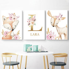Woodland Animal Print Kwekerij Canvas Schilderij Custom Naam Wall Art Roze Bloemen Poster Nordic Muur Foto Meisje Baby Room Decor(China)