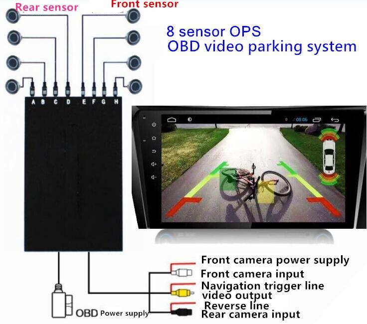 OPS System Parktronics Car Parking Sensors 8 Alarm Probe OBD Input Control Speed Front Radars Reverse Blind Spot Parking System