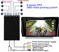 OPS System Parktronics Car Parking Sensors 8 Alarm Probe OBD Input Control Speed Front Radars Reverse blind spot parking system