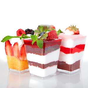 50X Mini Dessert Pudding Cups Set Clear Trifle Jelly Disposable Party Cups 4Oz