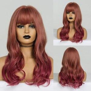 Image 4 - Светлый черный Omber парик с челкой, синтетические парики для женщин, термостойкий косплей парик средней длины, высокая температура