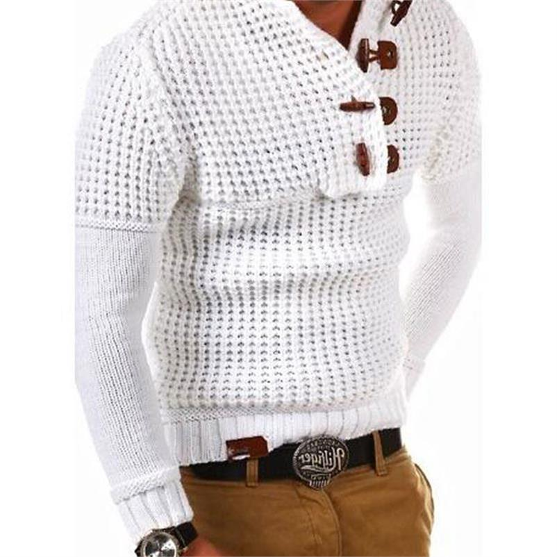Men Sweaters Pullover Vintage Knitted Mens Hooded Sweater Plus Size 3XL Mens Sweaters Coats Streetwear Horn Buckle Designer A381
