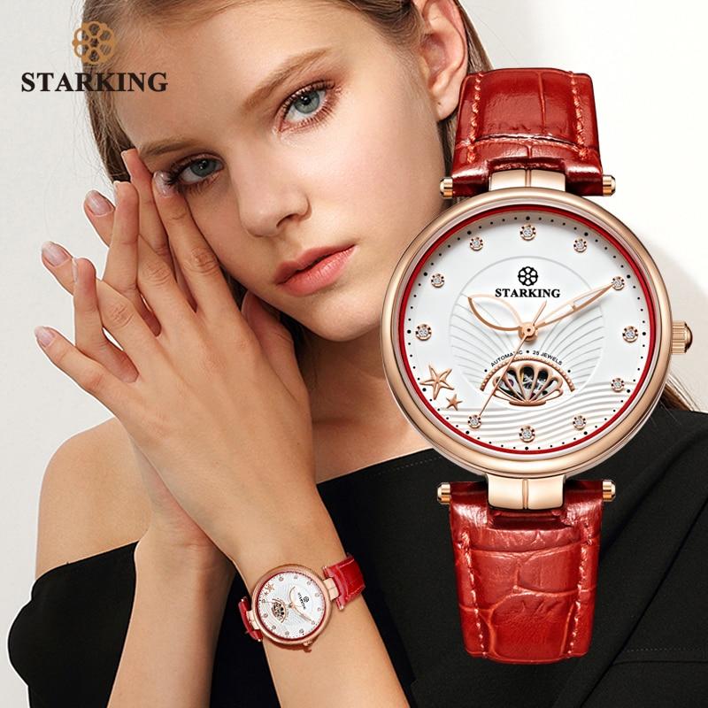 STARKING bijoux de luxe femmes montres saphir verre étanche 5ATM automatique mécanique montres en cuir relogio feminino
