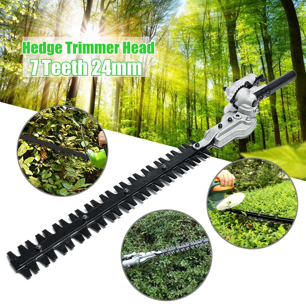 7 Teeth Gearboxs 24mm Pole Hedge Trimmer Bush Cutter Head Attachment For Trimming Hedges Chainsaw Garden Power Tools