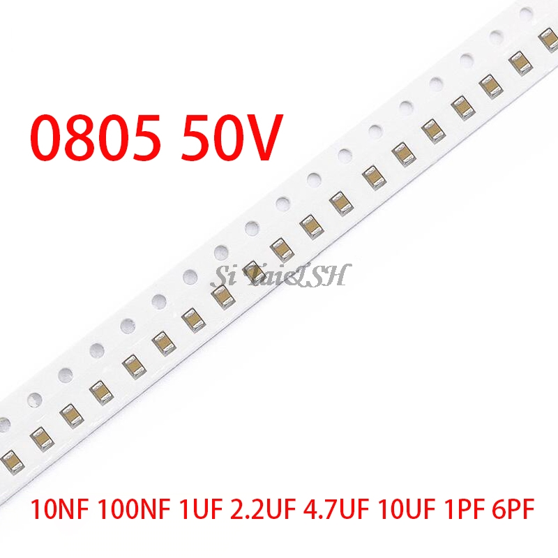 100pcs 0805 50V SMD Thick Film Chip Multilayer Ceramic Capacitor 1pF-47uF 10NF 100NF 1UF 2.2UF 4.7UF 10UF 1PF 6PF