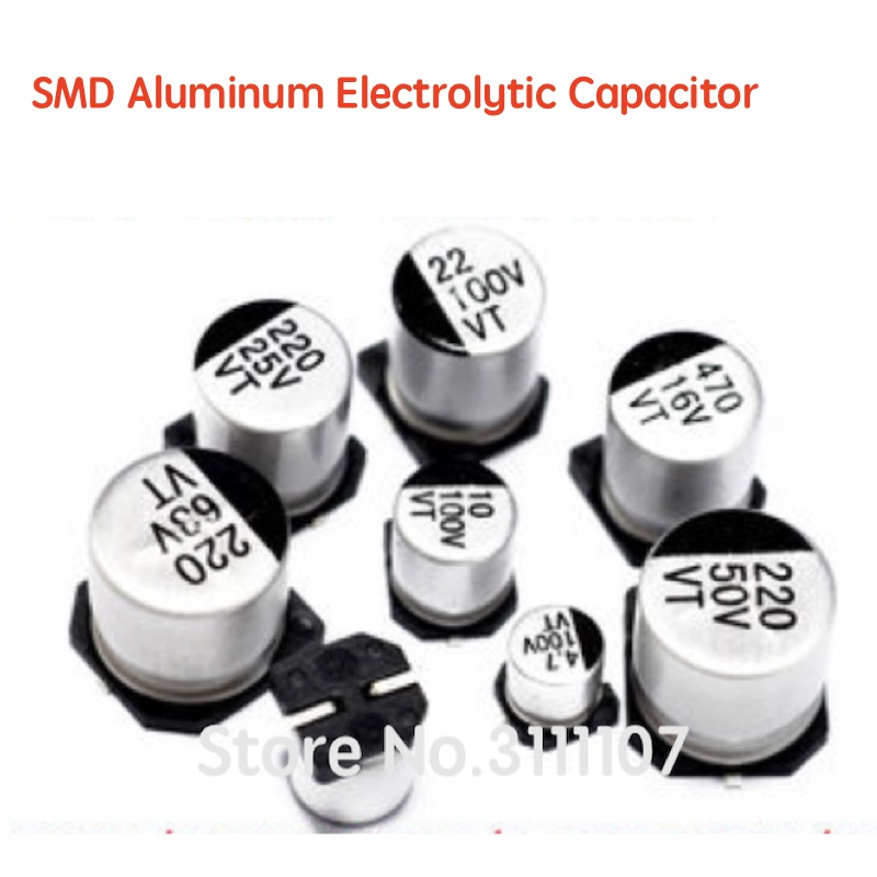 20PCS SMD Aluminum Electrolytic Capacitor 100UF 220UF 47UF 33UF 22UF 10UF 4.7UF 2.2UF 1UF 50V 35V 25V 16V 10V Capacitance