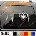 Love Albania наклейка с двуглавым орлом Виниловая наклейка для автомобиля Heart Beat EKG
