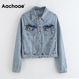 Aachoae Casual Blue Color Denim Coat Women Long Sleeve Pocket Jacket Outerwear Turn Down Collar Pleated Tops Lady Autumn Spring