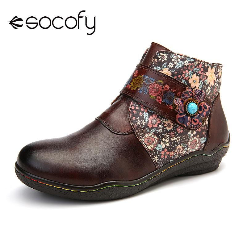 SOCOFY Genuine Leather Boots Small Flowers Colorful Stitching Soft Flat Leather Boots  Ladies Shoes Women Botines Mujer 2020