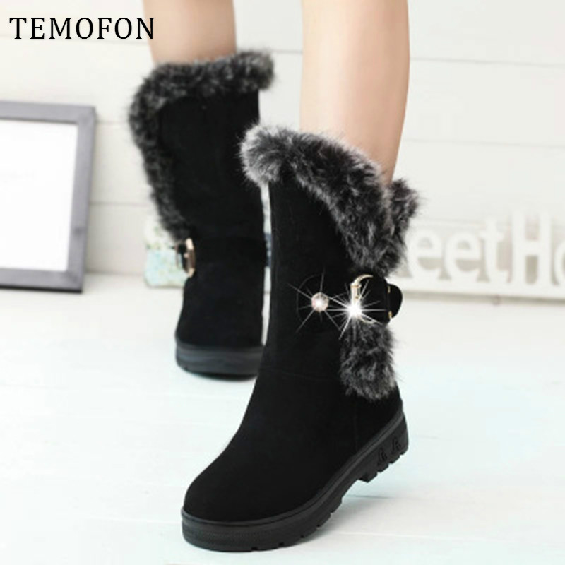 Winter Woman Ankle Boots Fur Warm Winter Casual Shoes Woman Flats Snow Boots Suede Platform Bukle Boots 36-41 Botas Mujer HDT630