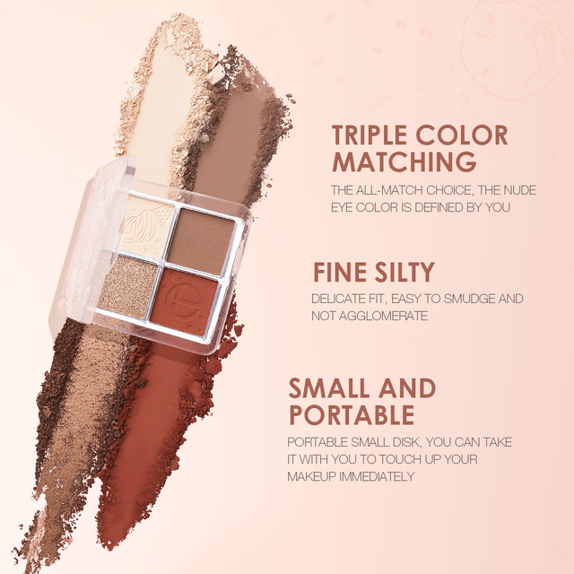 O.TWO.O 4 Color Eyeshadow Palette Peach Waterproof Long Lasting Shimmer  Matte Eye shadow Soft Smooth Shadow Primer Makeup 2