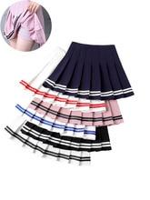 Summer Korean Fashion Short Women Skirt Casual Slim Elastic High-Waisted Striped Harajuku Pleated Plaid A-Line Mini Skirts