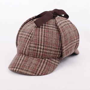 Image 5 - SHOWERSMILE Sherlock Holmes Hat Unisex Winter Wool Berets For Men Deerstalker Tweed Cap Accessories British Detective Hat Women
