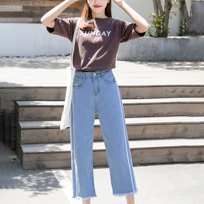Full Length Harem Pants Fashion Trend Solid High Waist Wide Leg Pants Raw Hem Zipper Fly Straight Plus Size Women 39 s Jeans in Jeans from Women 39 s Clothing