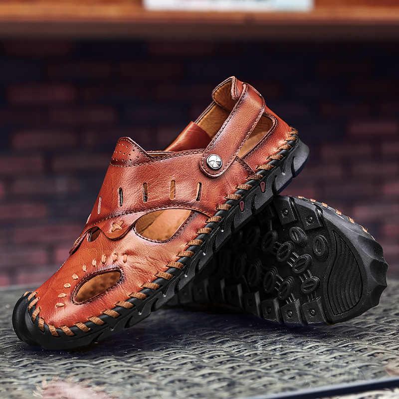 Yaz deri sandalet erkekler açık plaj sandaletleri düz rahat moda erkek nefes su Trekking ayakkabıları 2020 büyük boy