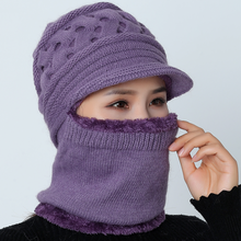 2019 New Winter Balaclava Beanies Mother Hat Women Warm Thick Skullies Riding Outdoor Hats Gorras Stripes Beanie Cap Mask(China)
