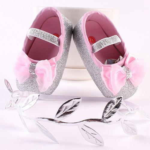 Cute Anti-Slip Toddler Baby Girls Bowknot Leaf Headband Soft Shoes 0-12MonthsHair Band Set With Leaves Gifts