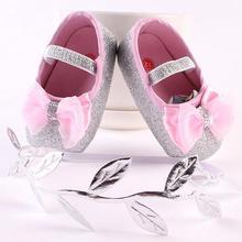 Cute Anti-Slip Toddler Baby Girls Bowknot Leaf Headband Soft Shoes