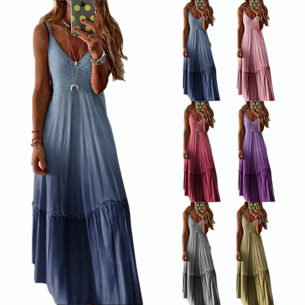 2020 Spring And Summer New Style Europe And America WOMEN'S Dress Loose-Fit V-neck Gradient Color Strapped Dress
