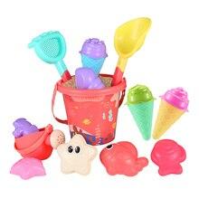 iBaseToy 16Pcs Beach Set Multicolor Sand Mold Kits with Cartoon Molds and Bucket for Pools Backyard and Sandbox