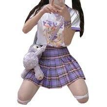 Preppy Style Women Pleated Skirts Purple Gothic Female Plaid Mini Skirt Sweet Cute Ladies Girls Dance Skirts Fashion Woman Skirt