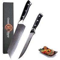 Grandsharp 2 Pcs Damascus Kitchen Knife Sets 67 Layers vg10 Japanese Damascus Steel Boning Kiritsuke Knives G10 Handle