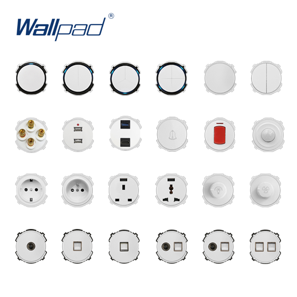 Wallpad White Wall Light Switch LED Indicator Wall Power Socket Electrical Outlet Function Key Only DIY Free Combination