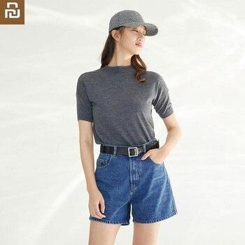 Youpin YUSKI Women High Waist Denim Shorts Casual hipster loose jeans for female girl