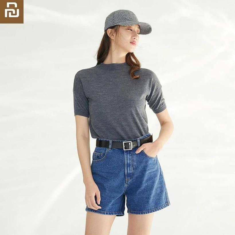 Youpin Yuski Pantalones Cortos De Mezclilla De Cintura Alta Para Mujer Pantalones Vaqueros Sueltos Hipster Casuales Para Mujer Fundas De Ropa Aliexpress