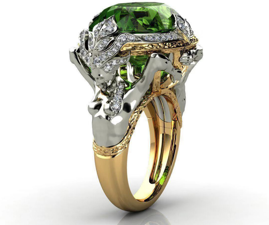Milangirl Mode Zwei Ton Ring en Grün Ziron Meerjungfrau Ringe Für Frauen Zirkon Ring