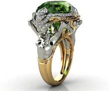 Milangirl – bague en Zircon à deux tons pour femme, anneau en forme de sirène, vert