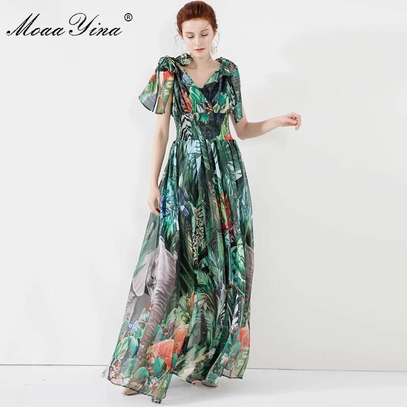 MoaaYina Fashion Designer Dress Summer Women's Dress Spaghetti Strap Floral-Print Vacation Chiffon 5XL Plus Size Maxi Dresses