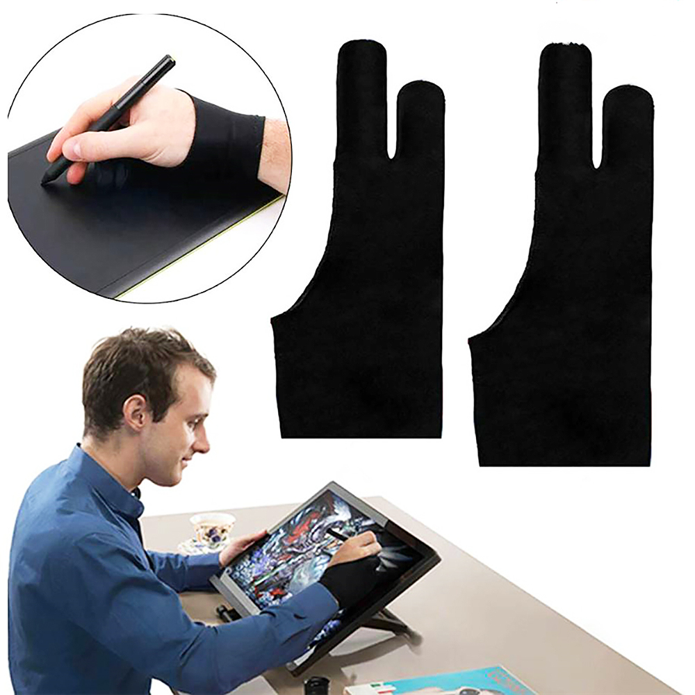 2pcs Black 2 finger artist glove anti-fouling for drawing painting digital tablet writing glove for Art Students