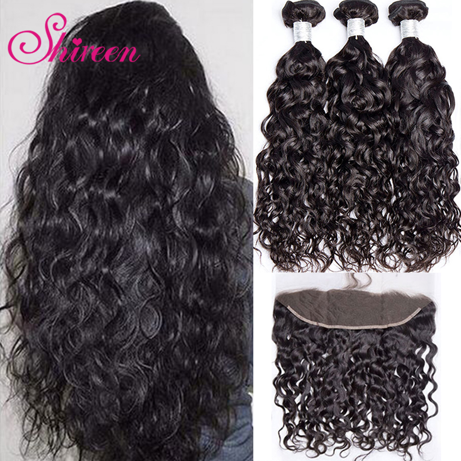 Shireen Hair Peruvian Hair Water Wave 3 Bundles With Lace Frontal Non-Remy Human Hair Weave 13*4 Frontal Closure With Bundles