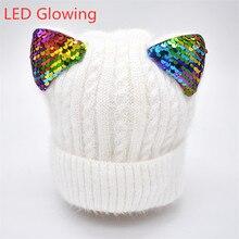 ฤดูหนาวใหม่หมวกฤดูหนาวเด็กหมวกเด็กอบอุ่นหมวกและ Snood สำหรับสาวเด็กหมวก Luminous cat หู