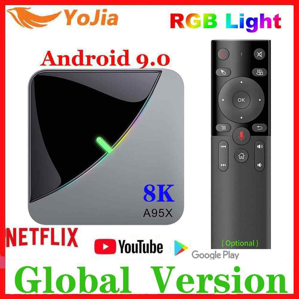 Rvb lumière Android 9.0 TV BOX Amlogic S905X3 A95X F3 Air Max 4GB RAM 64GB ROM A95X F3 TV Box Smart 8K lecteur multimédia double Wifi 1G8G