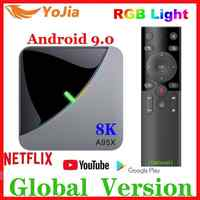 Luz rgb android 9.0 caixa de tv amlogic s905x3 a95x f3 ar max 4 gb ram 64 gb rom a95x f3 caixa de tv inteligente 8 k media player duplo wifi 1g8g