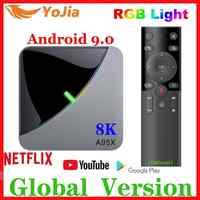 Luz rgb android 9.0 caixa de tv amlogic s905x3 a95x f3 ar max 4 gb ram 64 gb rom a95x f3 caixa de tv inteligente 8 k media player duplo wifi 1g8g