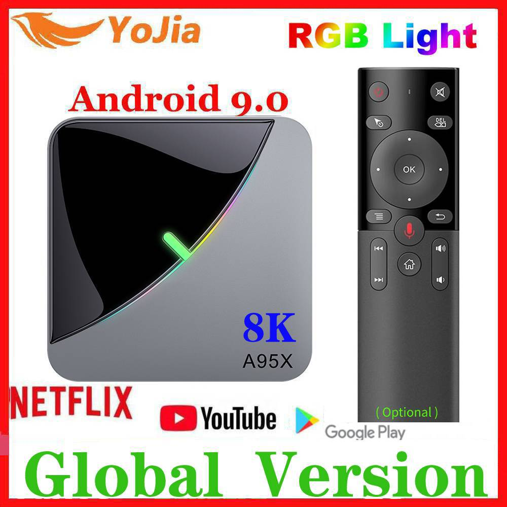 RGB Light Android 9.0 TV BOX Amlogic S905X3 A95X F3 Air Max 4GB RAM 64GB ROM A95X F3 TV Box Smart 8K Media Player Dual Wifi 1G8G