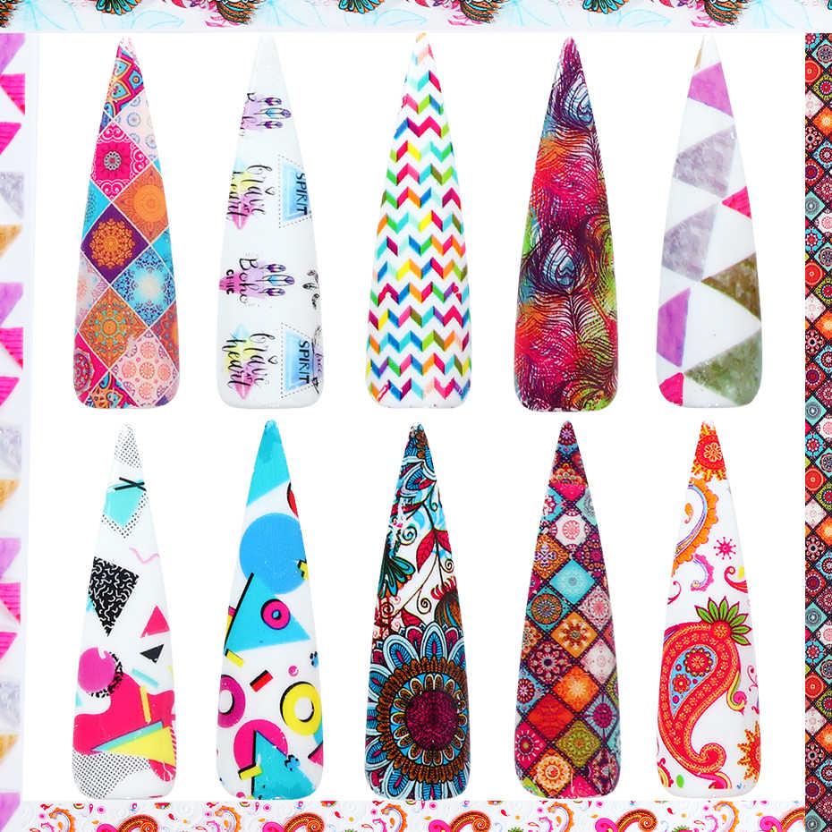 10 шт. красочные ретро цветок переводная фольга голографические наклейки для ногтей клейкие переводные наклейки для ногтей Geomet обертывание Маникюр CHXKH40-53-55