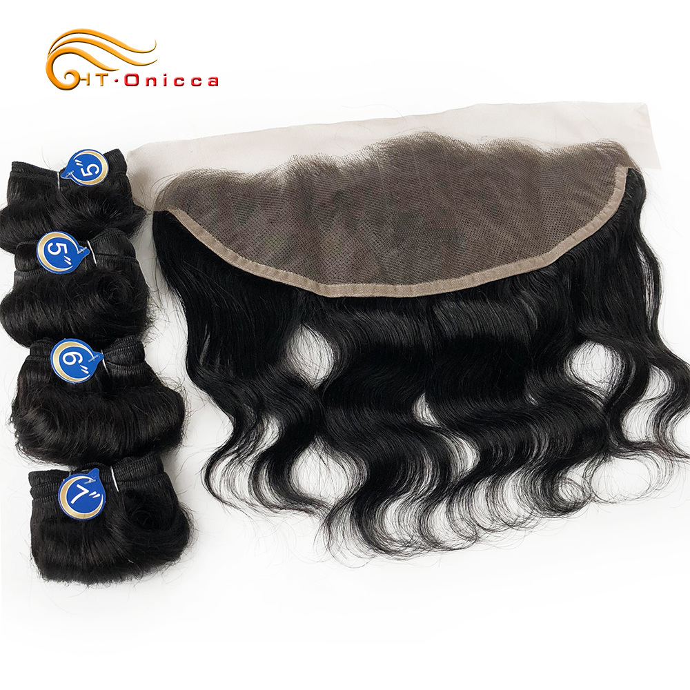Bodywave Bundles With Closure Human Hair With Frontal 1B Hair Color Hair Bundles With Lace Frontal Closure For Woman