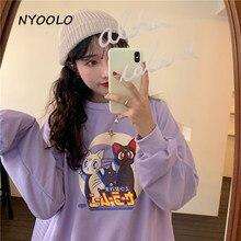 NYOOLO Autumn streetwear long sleeve pullovers thin Sweatshirt women