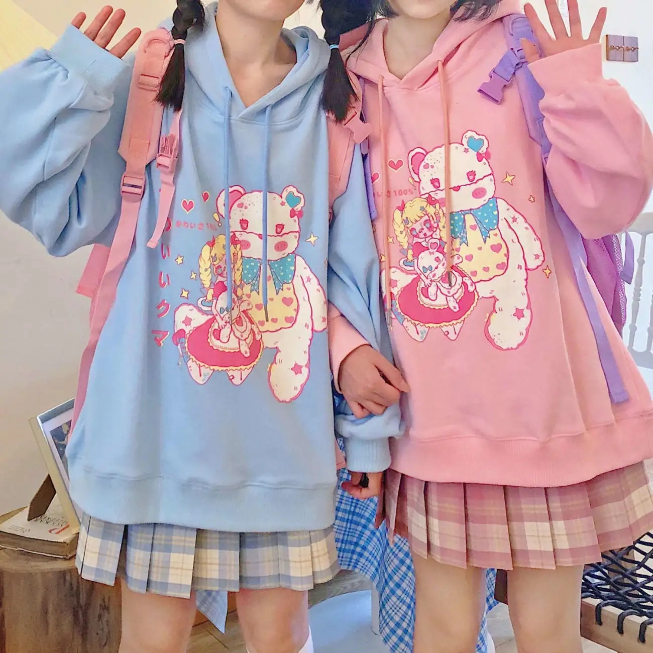 Oversized Hoodies Gothic Harajuku Kawaii Anime Print Hoodies Jacket Women Spring Autumn Long Sleeve Hoodies E Girl Clothes