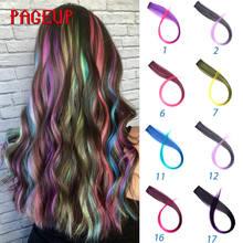 Разноцветные накладные волосы на клипсе pageup цельные синтетические