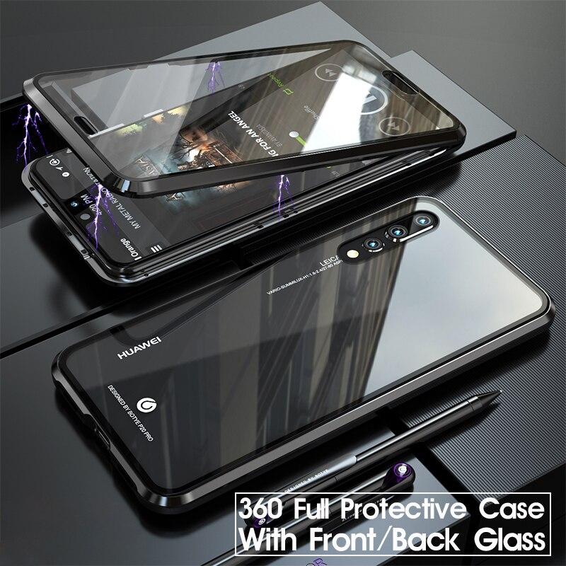 360 capa protetora de corpo inteiro para huawei p20 pro p20pro p 20 magnético amortecedor dianteiro filme vidro temperado capa huawei p20 pro caso