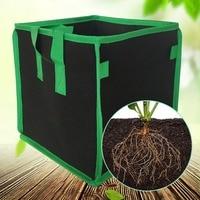 3/5/7/10 Gallon Square Non woven Plant Grow Bag Plant Container With Double Handle Outdoor Garden Supplies Green