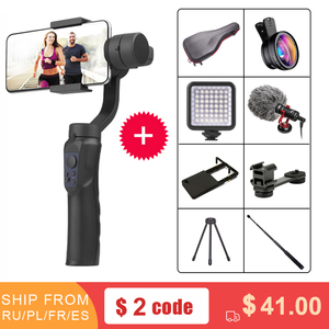 FIJ 3-Axis Handheld Gimbal Stabilizer w/Focus Pull & Zoom for iPhone Xs Max Xr X 8 Plus 7 6 SE Samsung Action Camera