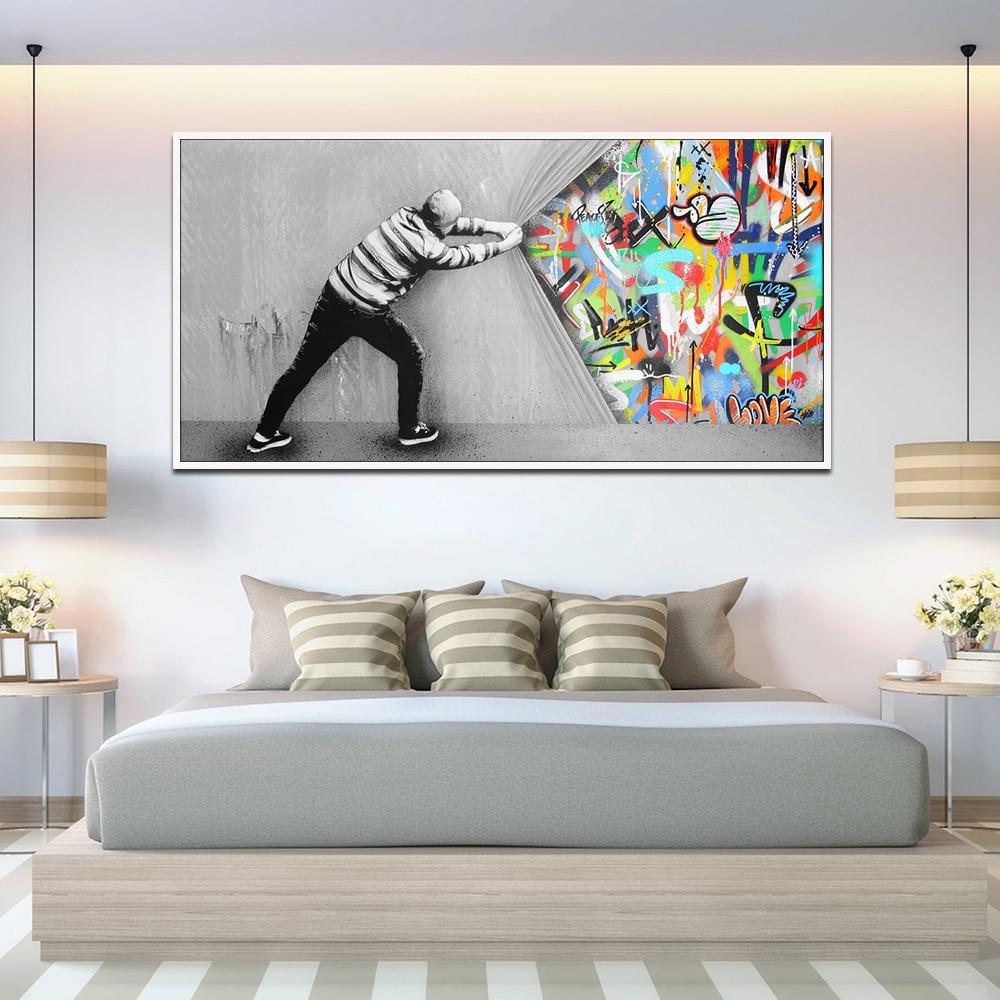 Graffiti Kunst Wand Bilder Für wohnzimmer Hinter Die Vorhang Street Art Leinwand Gemälde Auf Die Wand Poster Und Drucke quadro
