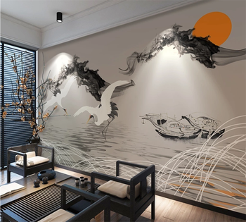 Custom 3D wallpaper mural abstract smoke landscape fish boat crane new Chinese style background wall